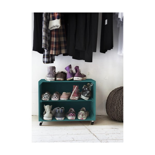 Rustykalna, drewniana szafka na buty Really Nice Things Shoe, turkusowa