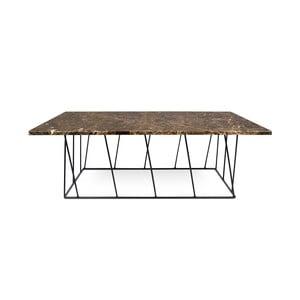 Brązowy stolik marmurowy z czarnymi nogami TemaHome Helix, 120 cm