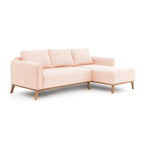 Różowa prawostronna sofa narożna Vivonita Milton