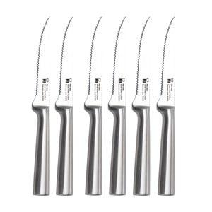 Zestaw 6 srebrnych noży do steków Bergner