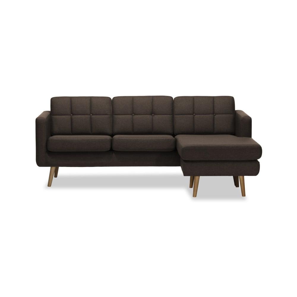 Ciemnobrązowa prawostronna 3-osobowa sofa narożna Vivonita Magnus