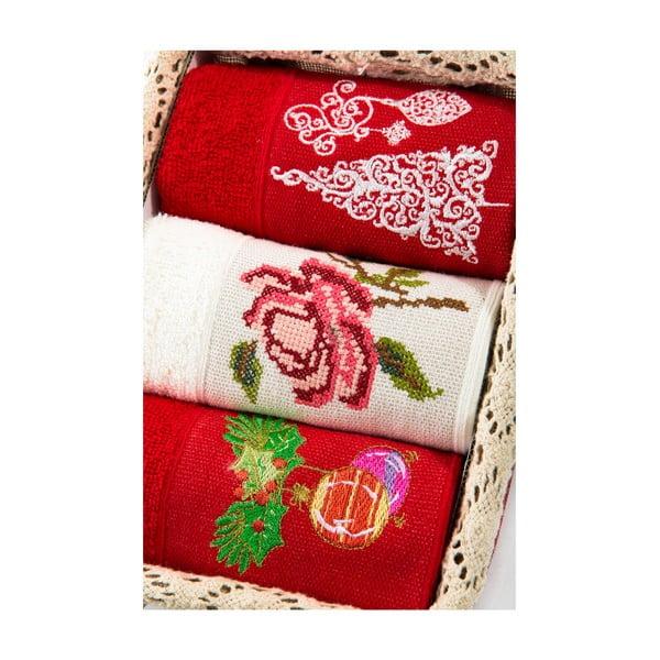 Zestaw 3 ręczników Xmas V26, 30x50 cm
