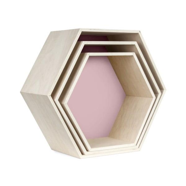Zestaw 3 półeczek Hexagon, różowe