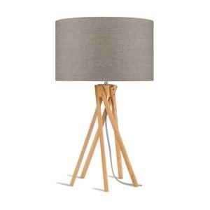 Lampa stołowa z beżowym kloszem i konstrukcją z bambusa Good&Mojo Kilimanjaro