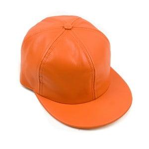 Skórzana czapka z daszkiem Nappa 6 Orange