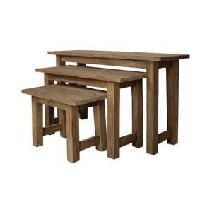 Zestaw 3 ławek z drewna tekowego HSM Collection Bali