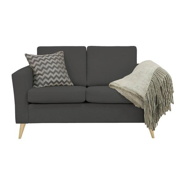 Ciemnoszara sofa 2-osobowa z naturalnymi nogami Helga Interiors Alex