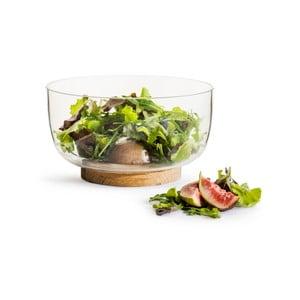 Szklana misa do sałatki z dębową podstawą Sagaform Nature, ⌀ 18 cm