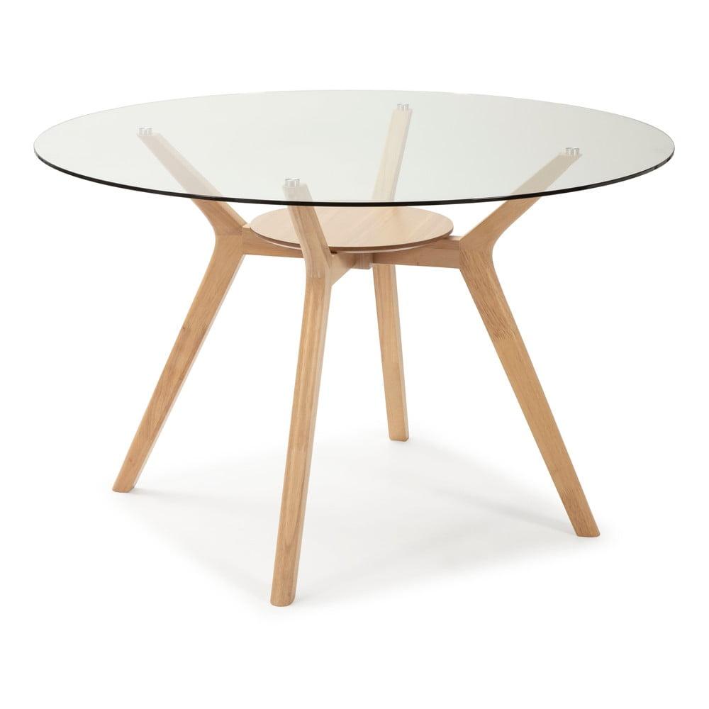 Stół ze szklanym blatem z drewnianymi nogami Marckeric Joel