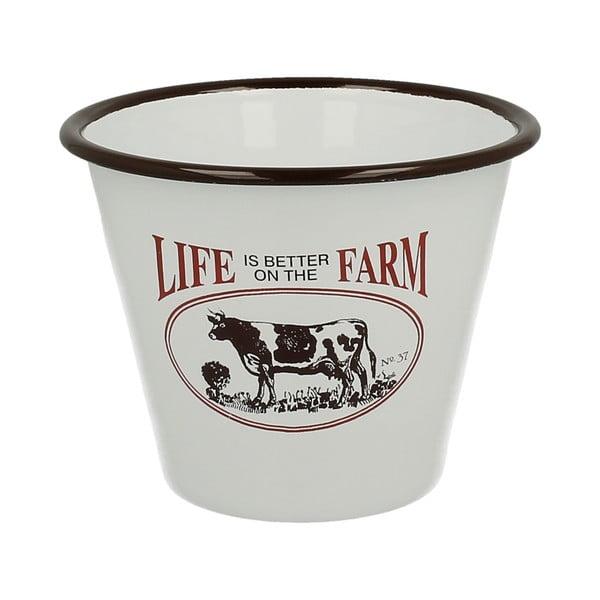 Emaliowana doniczka Cow Farm