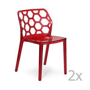 Zestaw 2   czerwonych krzeseł Garageeight Honeycomb