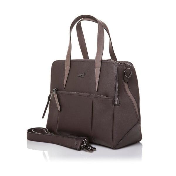 Skórzana torebka z długim i krótkim paskiem Marta Ponti Strada, szara/brązowa