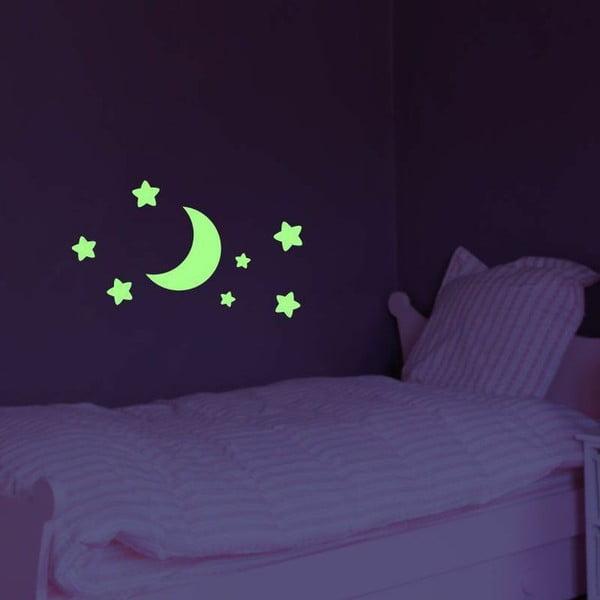 Naklejka świecąca w ciemności Ambiance Moon and Stars, 25x25 cm