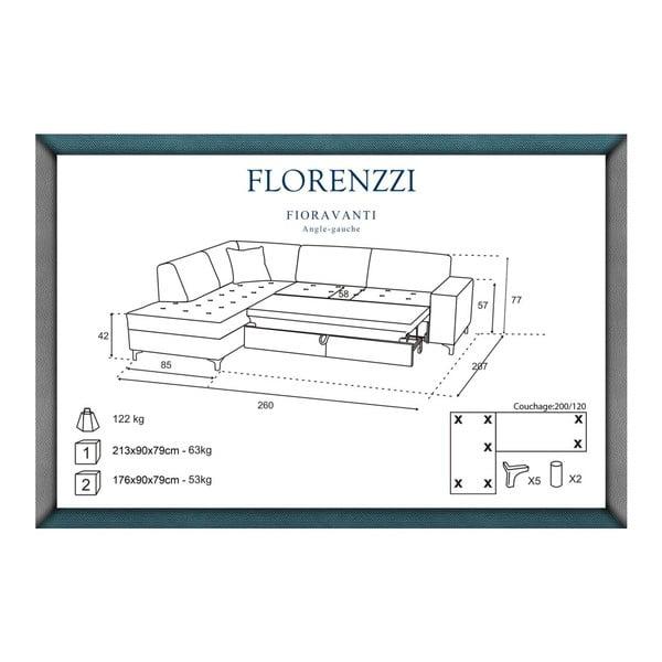 Narożnik rozkładany lewostronny Florenzzi Fioravanti Anthracite