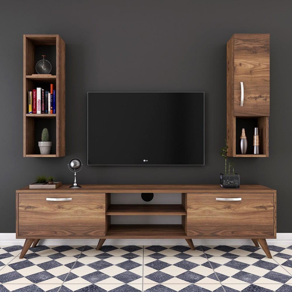 Zestaw komody pod TV, szafki ściennej i półki w dekorze drewna orzechowego Nut