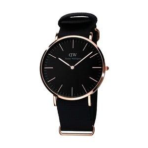 Czarny zegarek damski z nylonowym paskiem i detalami w kolorze różowego złota Daniel Welington Deedee