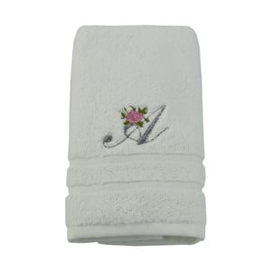 Ręcznik z inicjałem i różyczką A, 50x90 cm