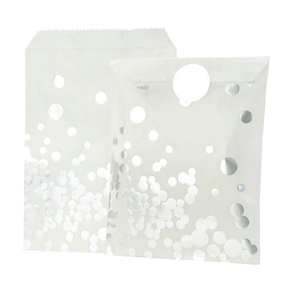 Zestaw 8 papierowych torebek Glassine Silver Dot
