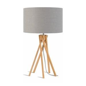 Lampa stołowa z jasnoszarym kloszem i konstrukcją z bambusa Good&Mojo Kilimanjaro