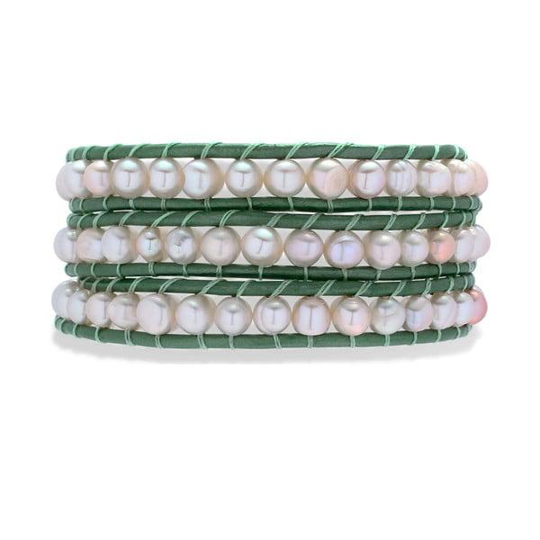 Ciemnozielono-biała bransoletka Nova Pearls Copenhagen Néreus