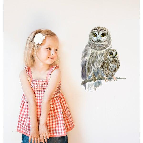 Naklejka wielokrotnego użytku Woodland Owls, 40x30 cm