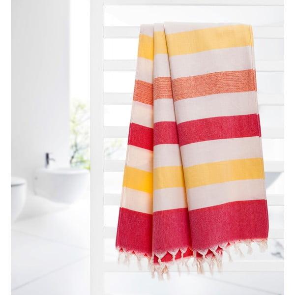 Ręcznik hammam Form, czerwony/żółty