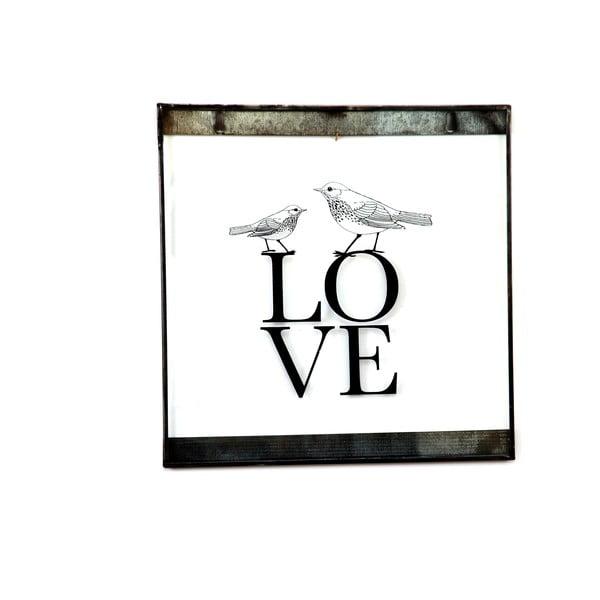 Szklana tabliczka z napisem Love, 30x30 cm