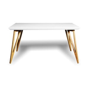 Stół z litego drewna jesionowego z białym blatem Charlie Pommier Triangle, 180x80cm
