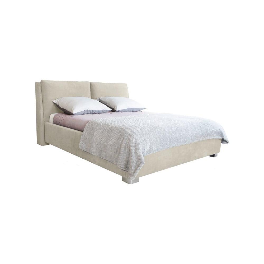 Beżowe łóżko 2-osobowe Mazzini Beds Vicky, 160x200cm