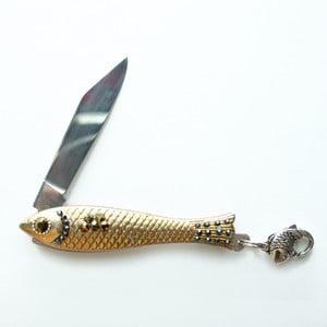 Scyzoryk rybka, złoty z ciemnymi kryształkami