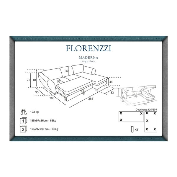 Narożnik rozkładany prawostronny Florenzzi Maderna Anthracite/Turquoise