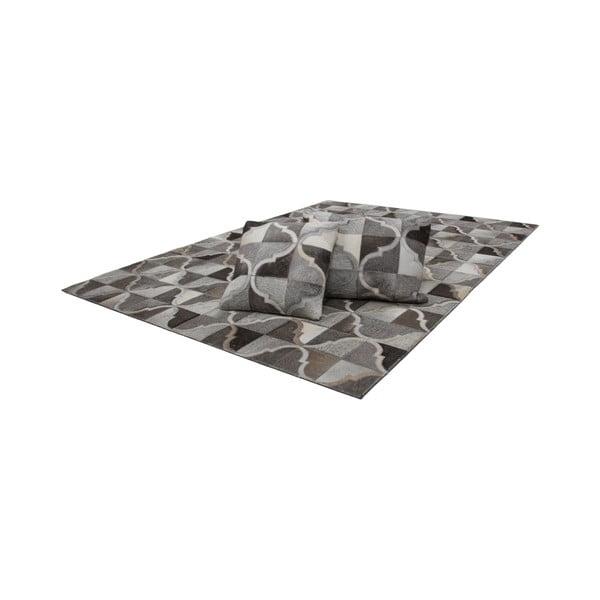 Poduszka skórzana Eclipse Grey, 40x60 cm