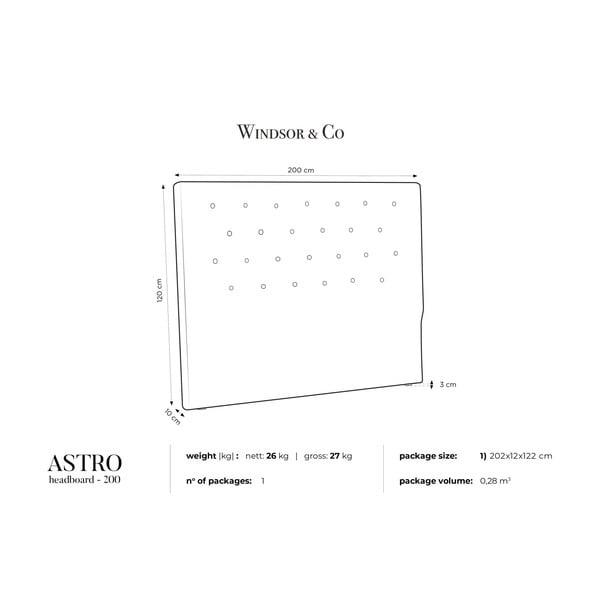 Fioletowy zagłówek łóżka Windsor & Co Sofas Astro, 200x120 cm
