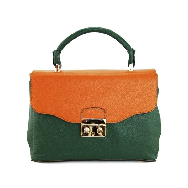 Skórzana torebka Cherie Verde/Cognac