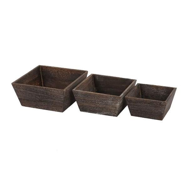 Komplet 3 brązowych misek drewnianych Mendler Shabby Vintage