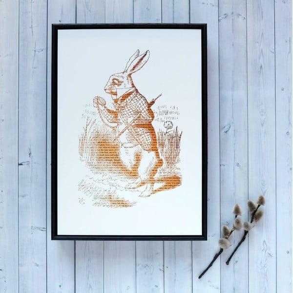Plakat w drewnianej ramie Alice in Wonderland White Rabbit