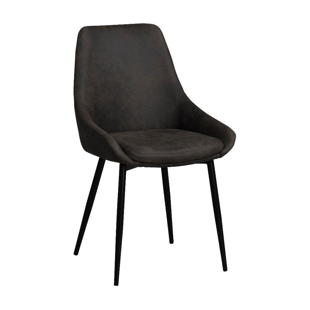 Ciemnobrązowe tapicerowane krzesło do jadalni Rowico Sierra