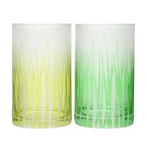 Zestaw 2 świeczników Grass Glass, 12x20 cm