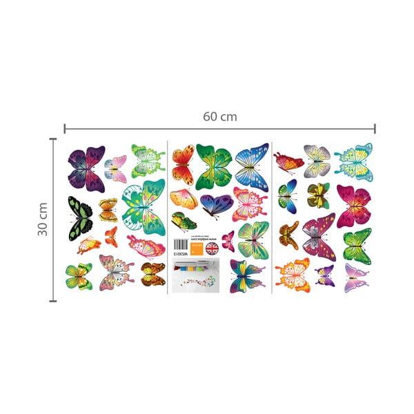 Naklejka ścienna Kolorowe motyle z elementami Swarovski