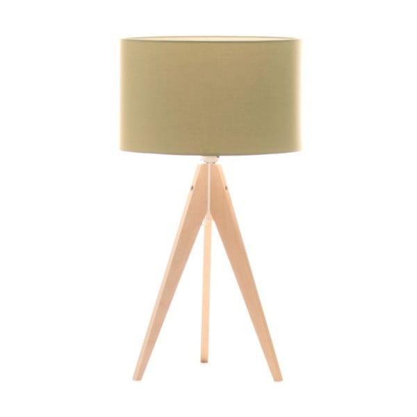 Zielona lampa stołowa Artist, brzoza, Ø 33 cm