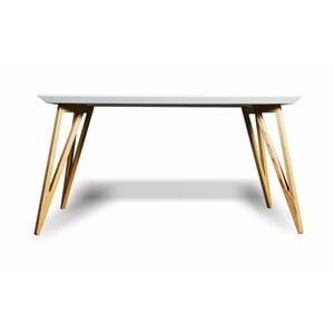 Stół z litego drewna jesionowego z białym blatem Charlie Pommier Triangle, 140x80cm