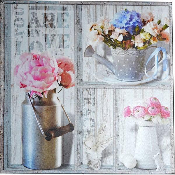 Obraz Kwiaty w konewce, 50x50 cm