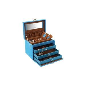 Niebieska szkatułka na biżuterię Friedrich Lederwaren Baccara, 21x15 cm