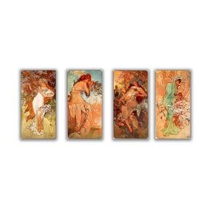 """Zestaw 4 obrazów """"Four Seasons"""" (Alfons Mucha), 20x40 cm"""