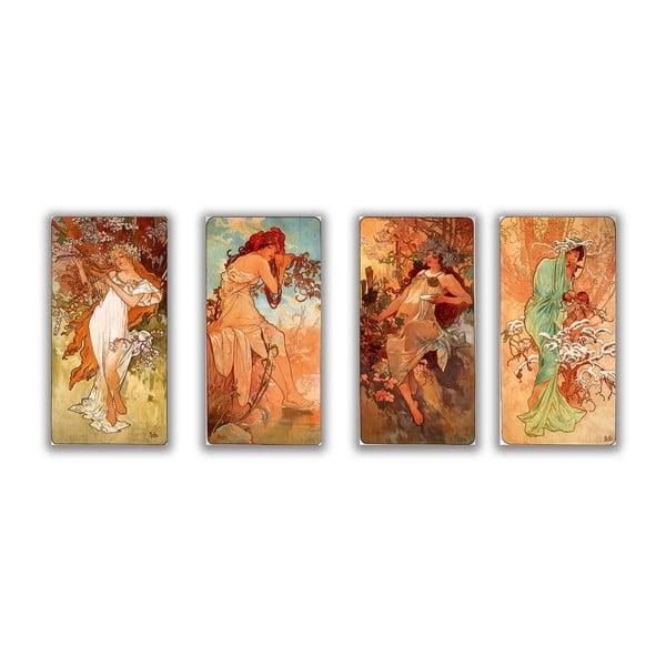 """Zestaw 4 obrazów """"Four Seasons"""" (Alfons Mucha), 30x80 cm"""