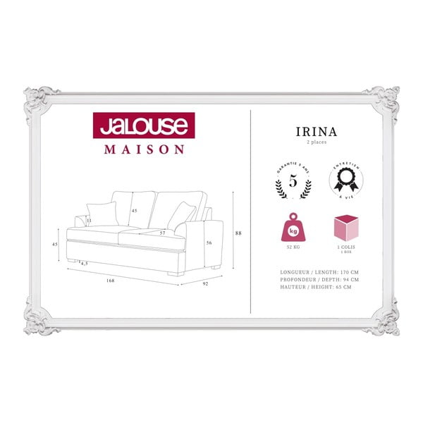 Sofa 2-osobowa Jalouse Maison Irina, granatowa