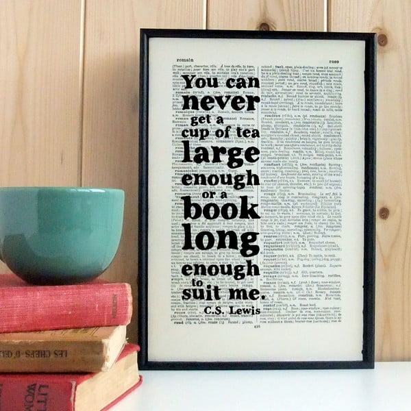 Plakat w   drewnianej ramie CS Lewis Tea and Books