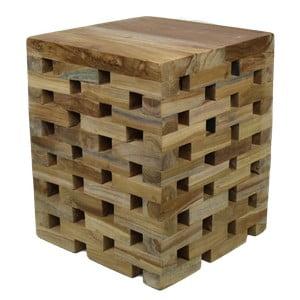 Stołek z drewna tekowego HSM Collection Bahta