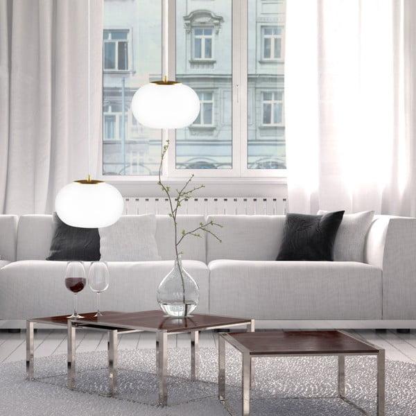 Podwójna szklana lampa wisząca ze złotą oprawką i białym kablem Sotto Luce DOSEI