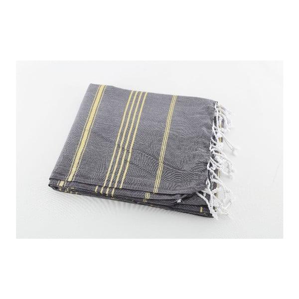 Ręcznik hammam Sultan Anthracite Gold, 100x180 cm
